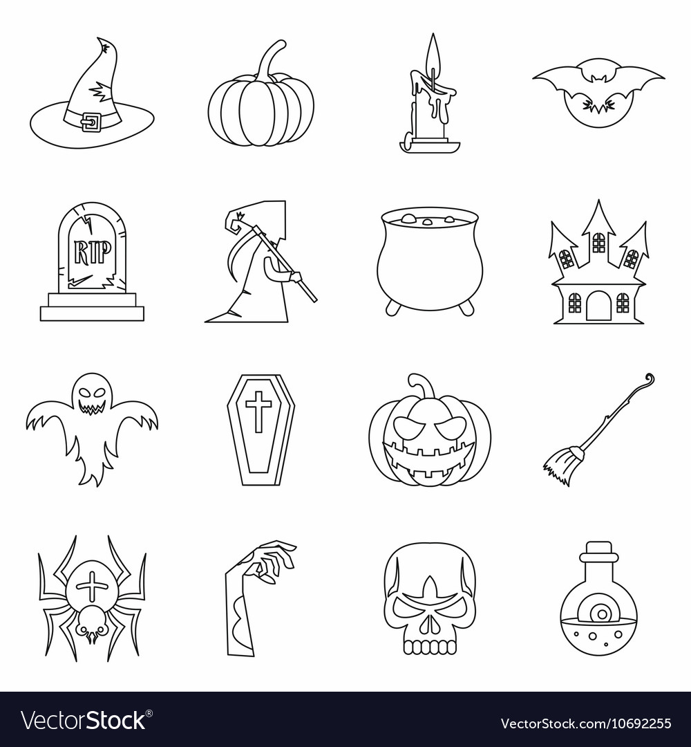 Halloween icons set outline style vector