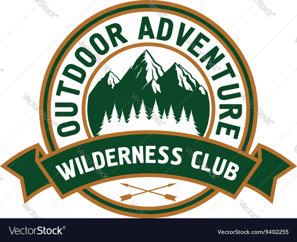 Outdoor adventure badge with mountain landscape vector