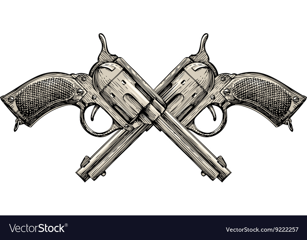 Crossed revolvers vintage guns handdrawn gun vector