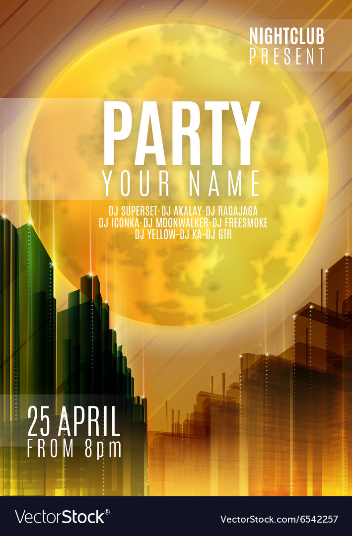 Night party  flyer or cover design background vector