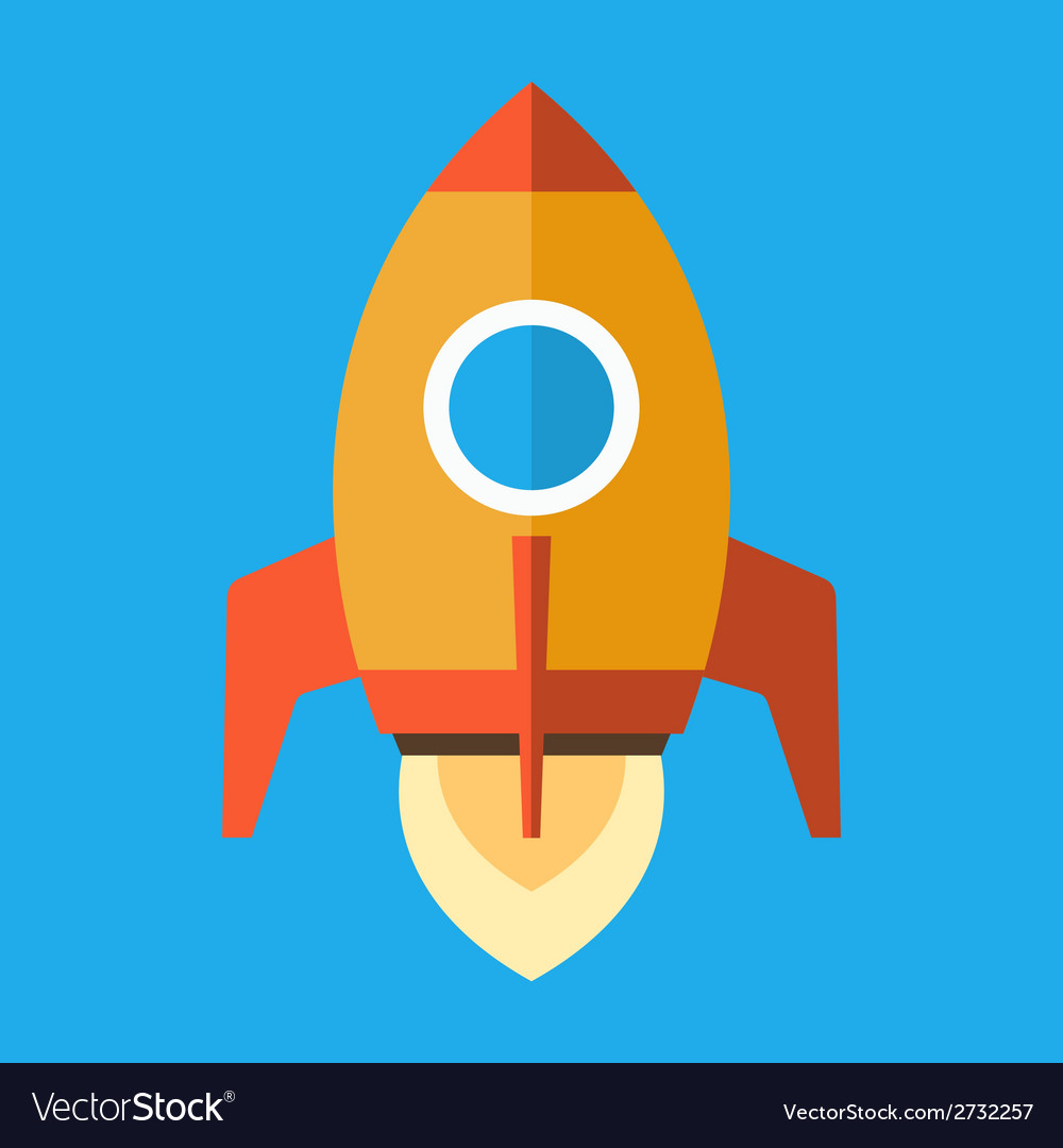 Rocket icon in flat style vector