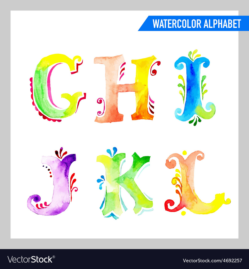 Watercolor alphabet  abc painted letters gl vector