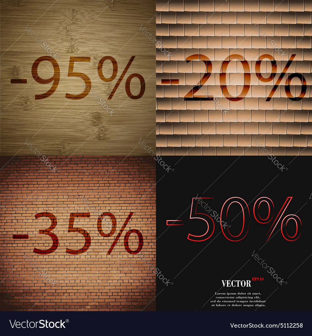 20 35 50 icon set of percent discount on abstract vector