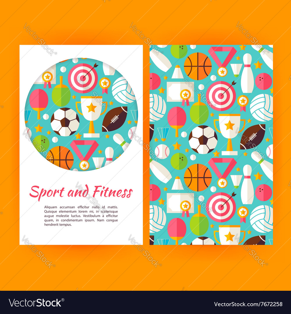 Sport and fitness banners set template vector