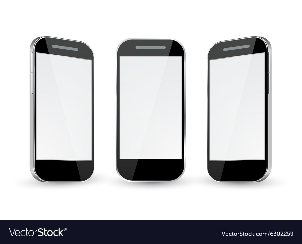 Mobile phone with different views vector