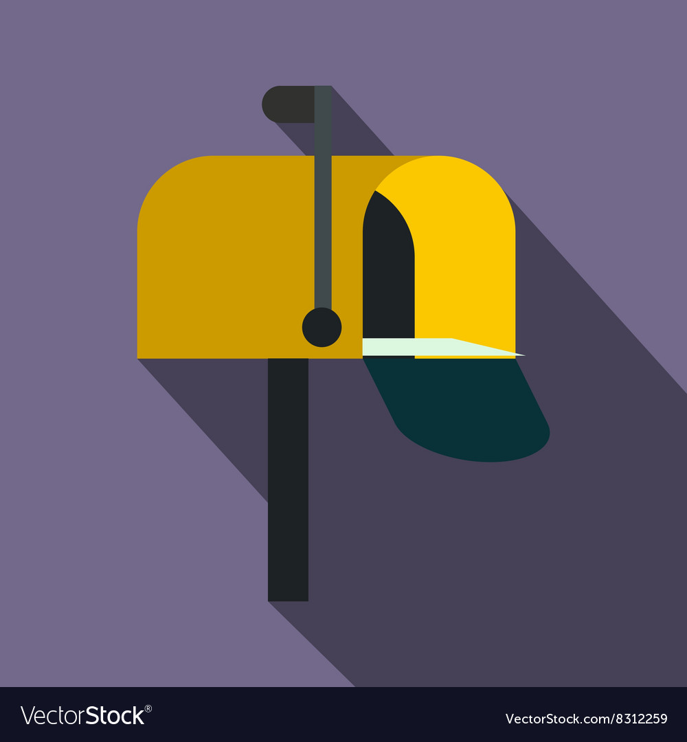 Yellow mail box icon flat style vector