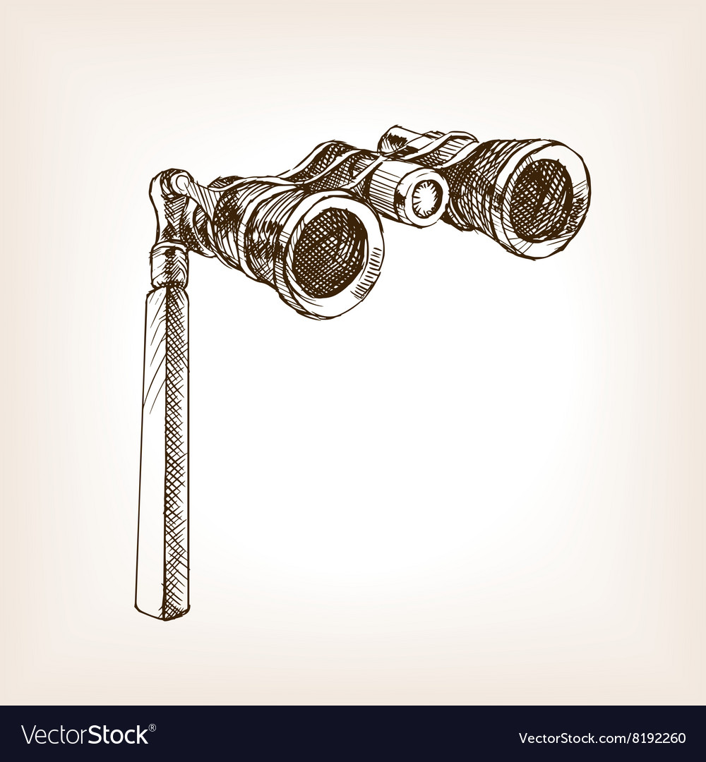 Opera glasses sketch style vector