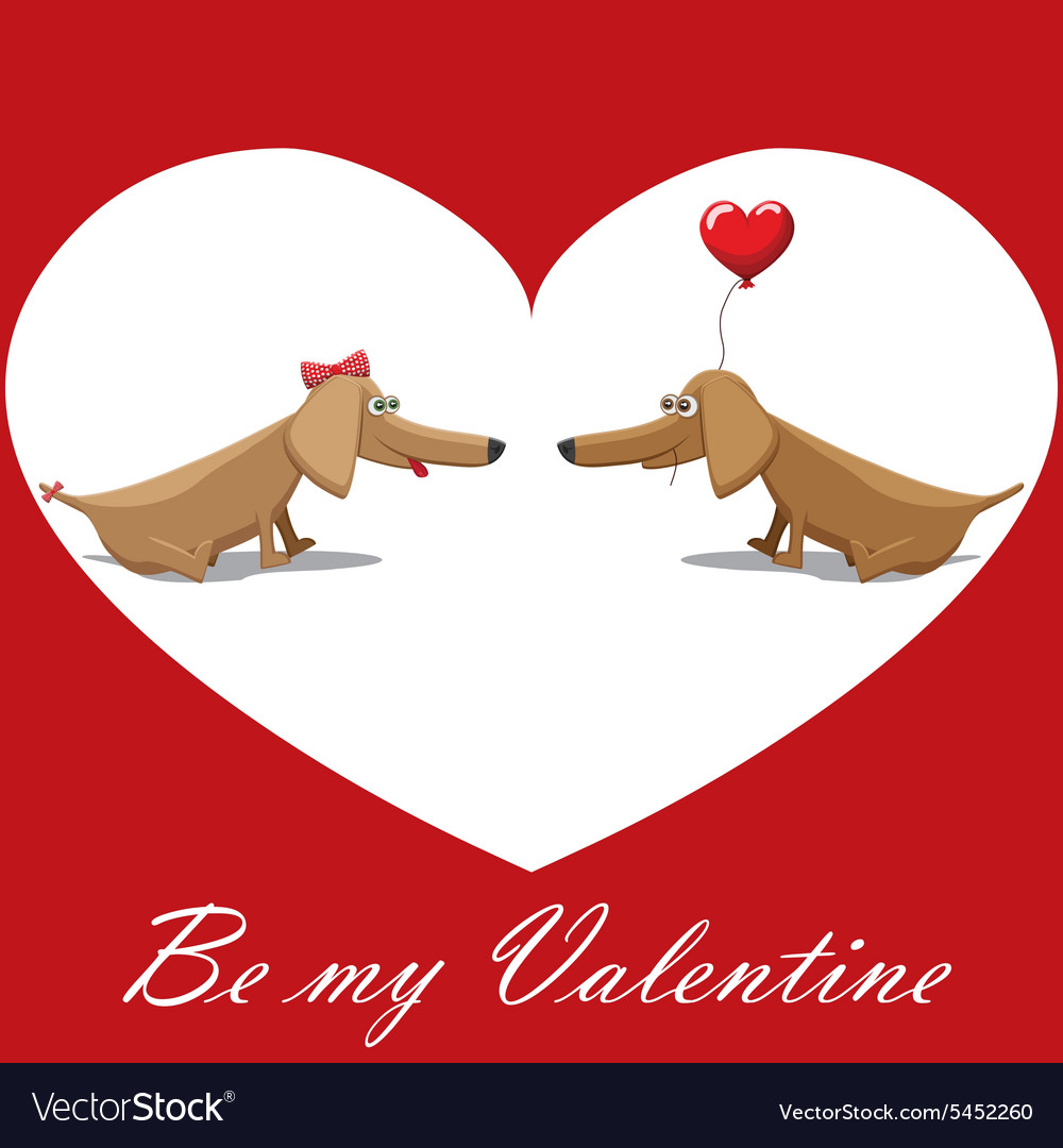 Valentines day dog with balloons postcard text be vector