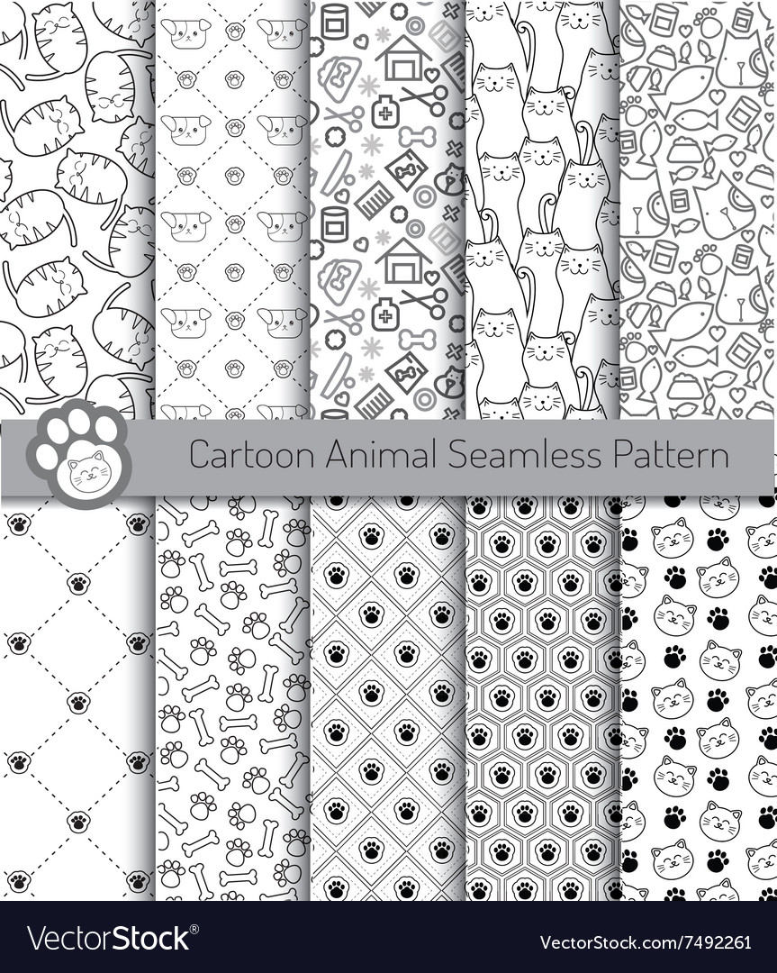 Cartoon animal seamless patterns vector