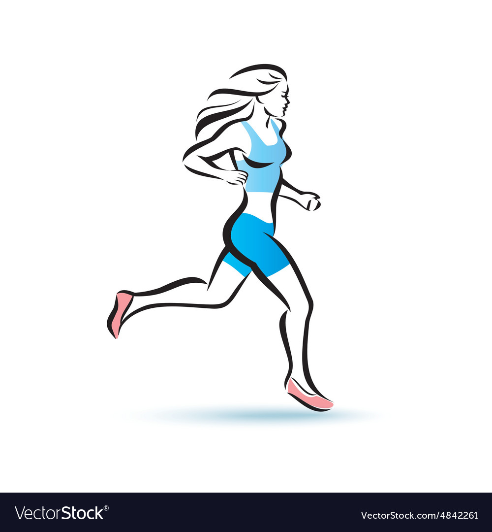 Running woman silhouette outlined sketch fitness vector