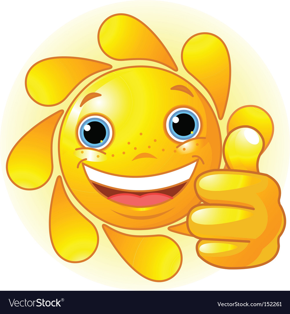 Sun hand giving thumbs up vector