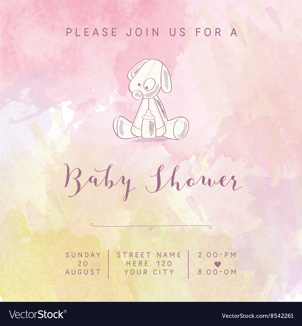 Watercolor baby girl shower card with retro toy vector