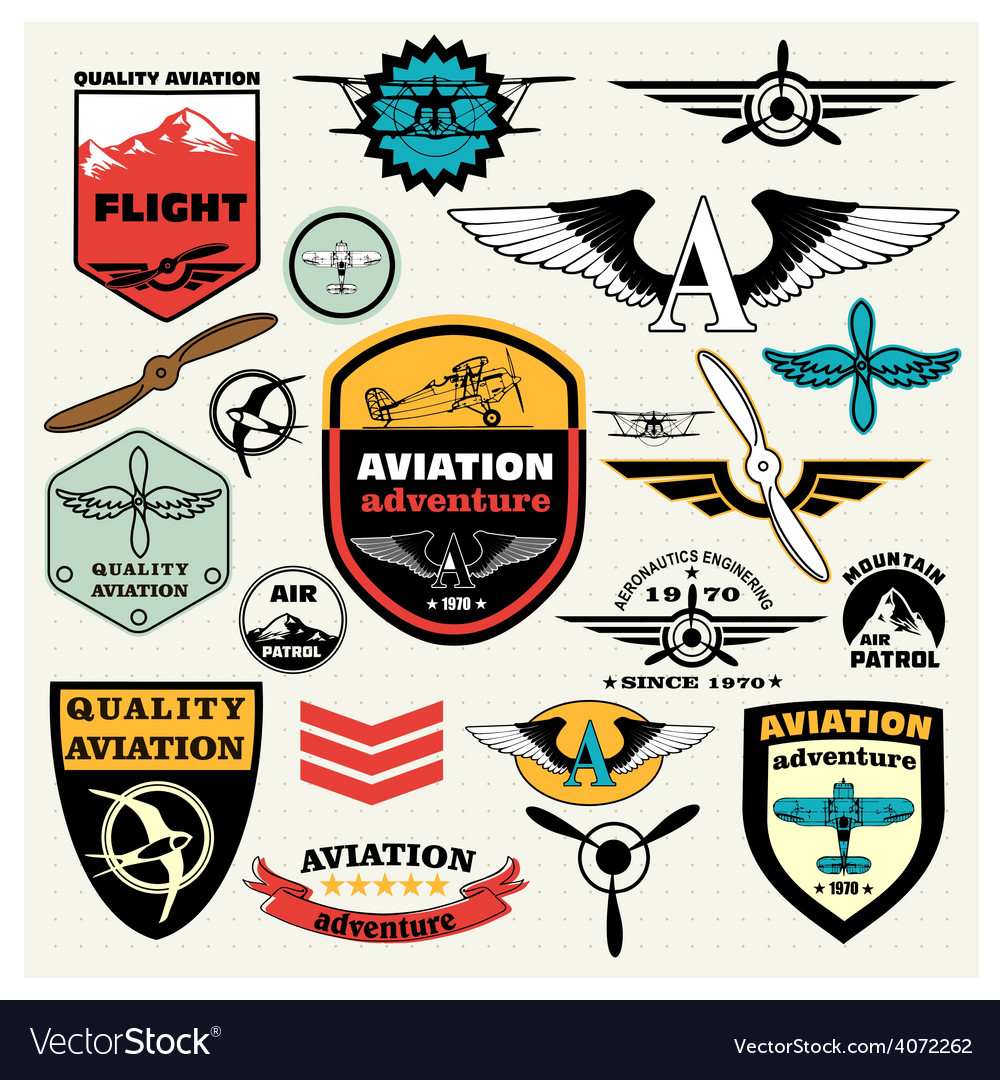 Mega set of the theme aviation vector