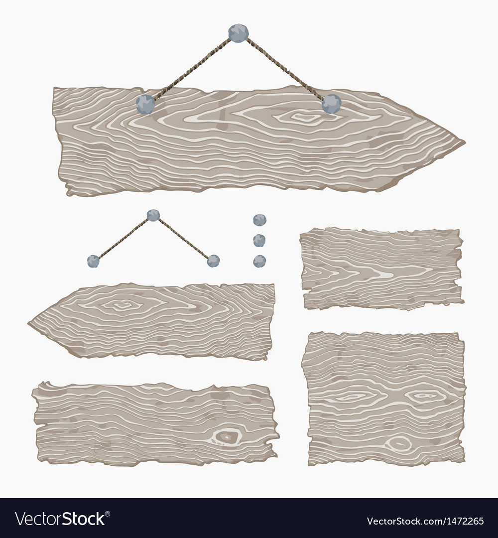 Blank wooden signs  hanging and light gray vector