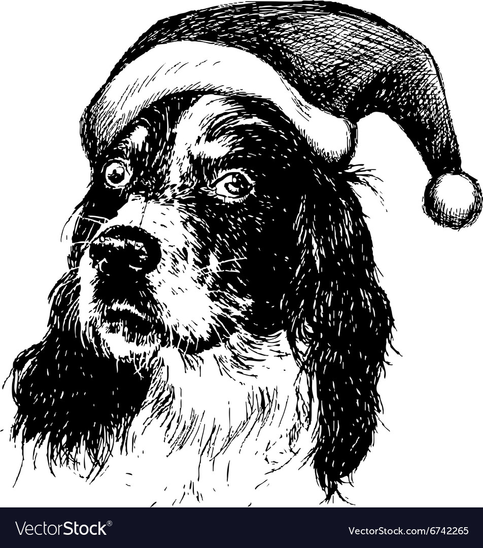 Christmas english setter dog vector