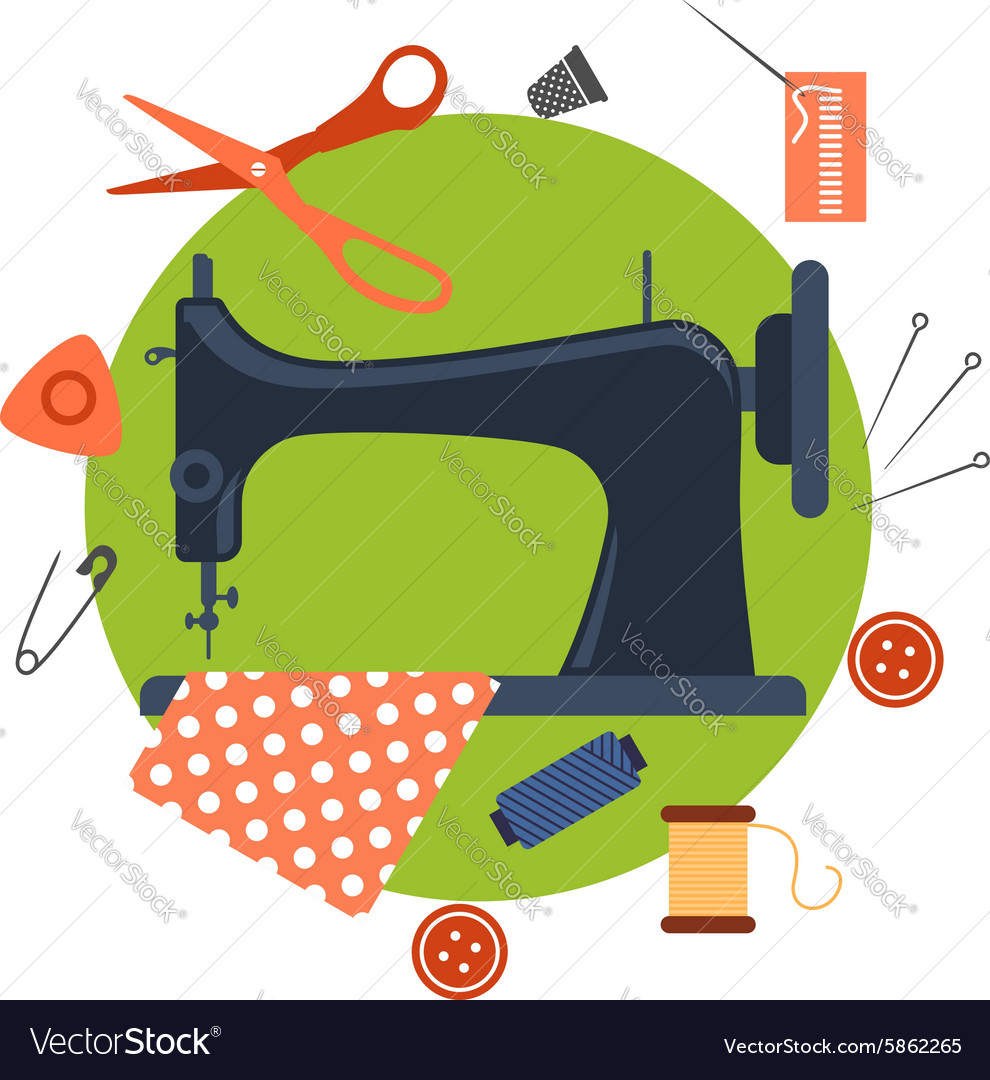 Flat sewing icons and machine vector