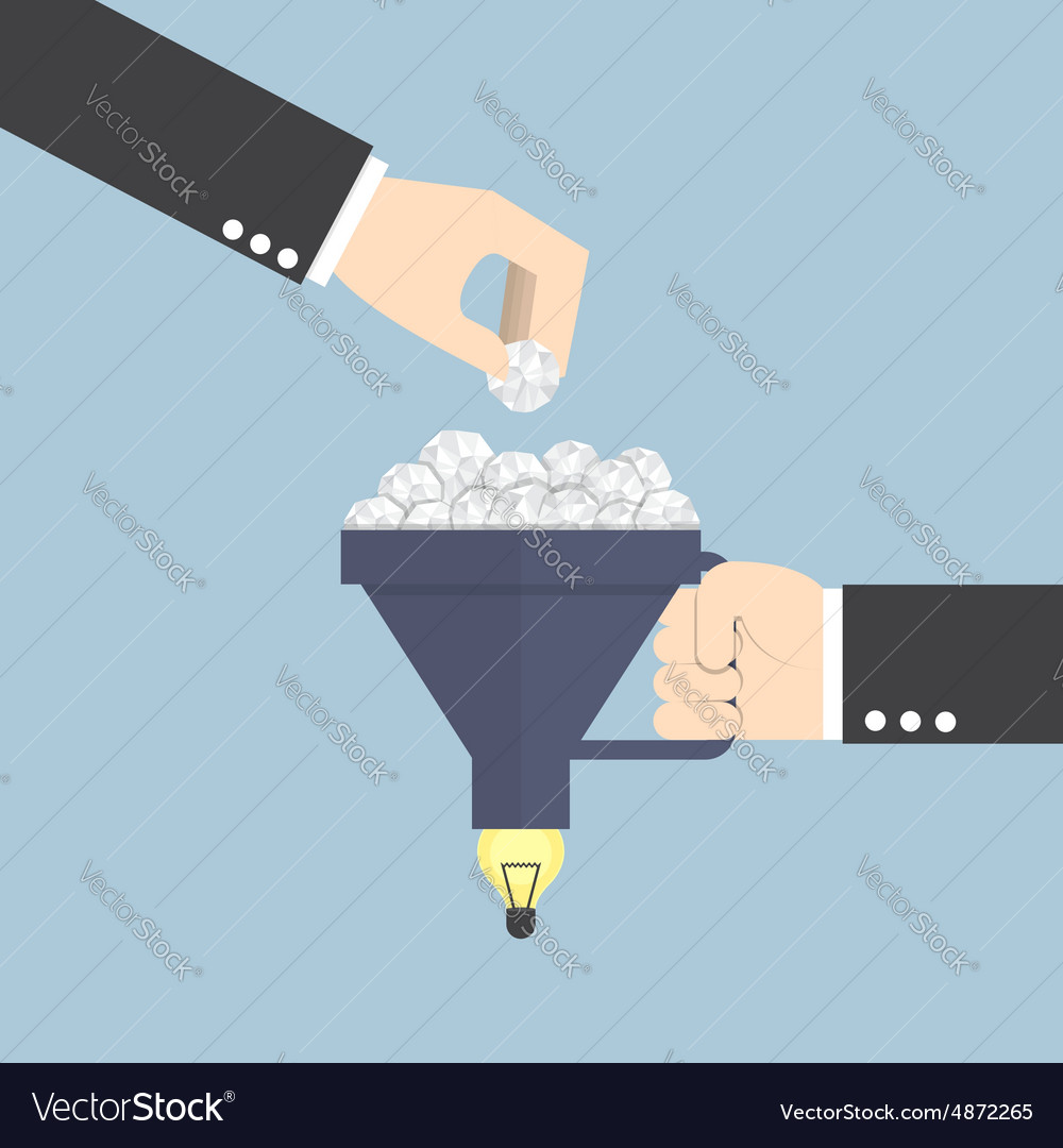 Funnel with crumpled paper and light bulb of idea vector