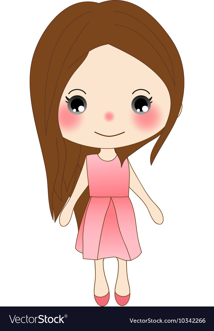 Cute girl in pink dress vector