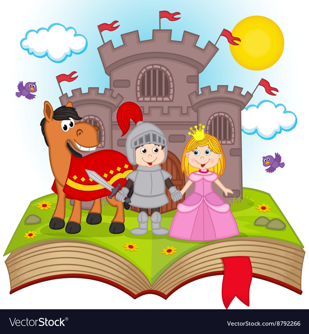 Open book with fairy tale vector