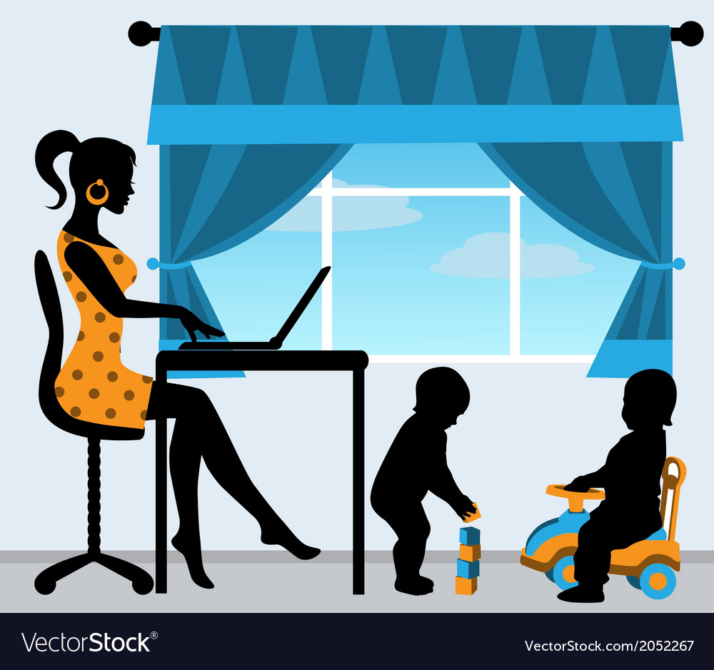 Mother and two children in the room vector
