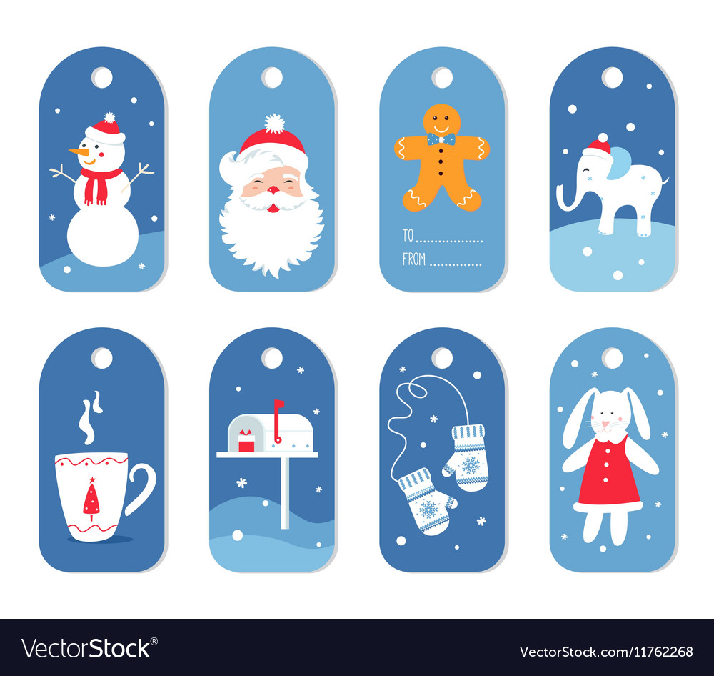 Christmas and winter holidays gift labels or tags vector