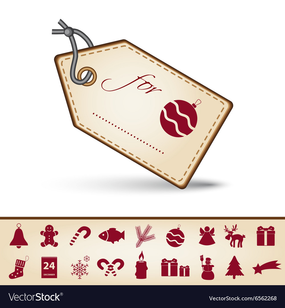Red and brown paper christmas gift tag label and vector