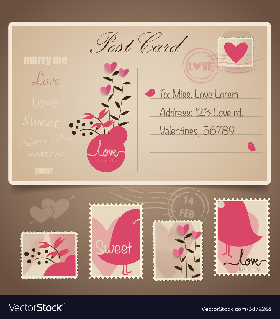 Vintage postcard background and postage stamps  vector