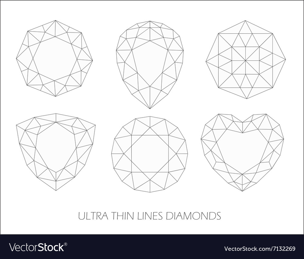 Elegant ultra thin line diamonds icons logo set vector