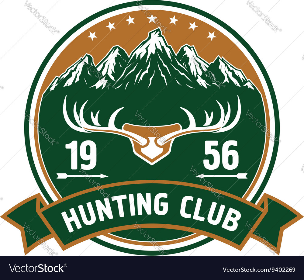 Hunting club round badge with deer antlers vector