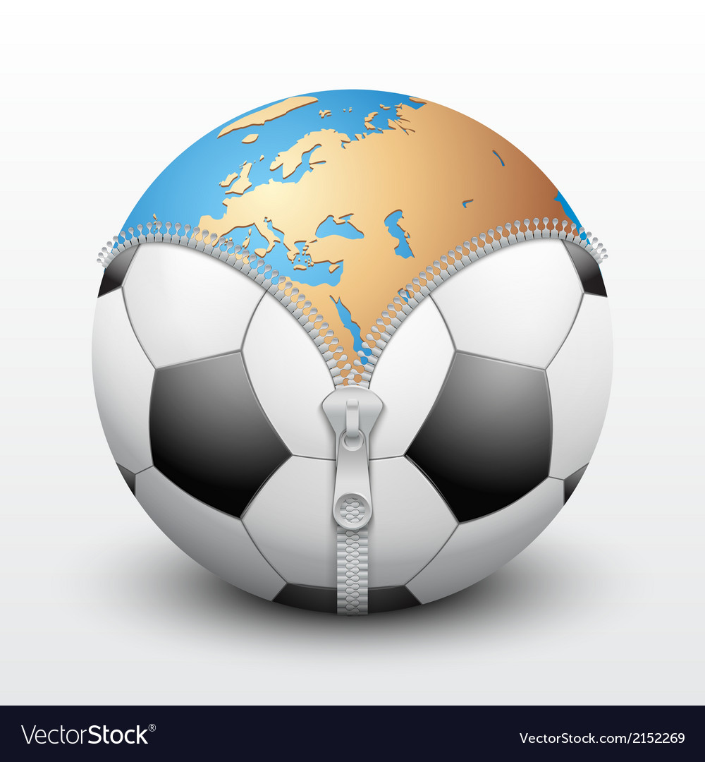 Planet earth inside soccer ball vector