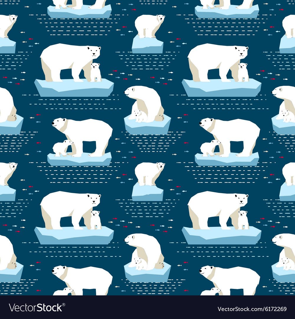 Polar bear seamless pattern vector