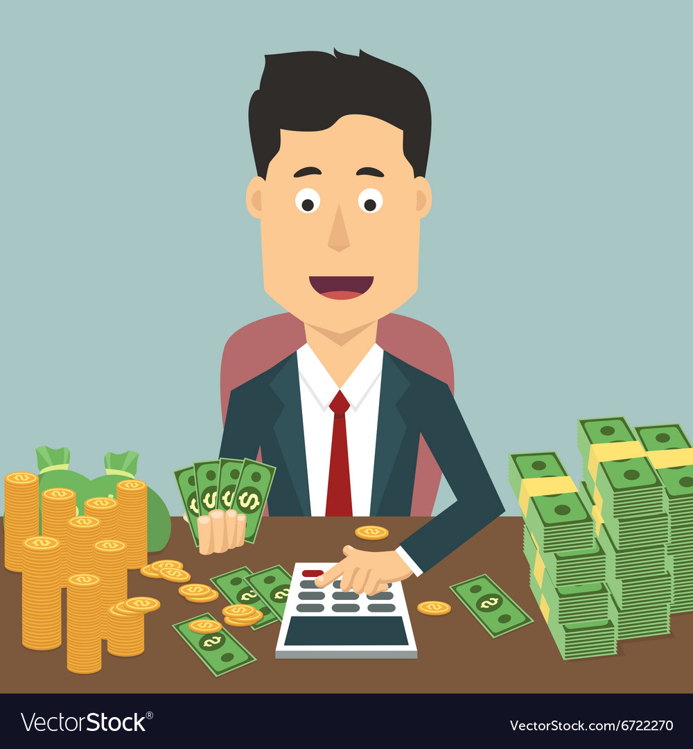 Flat of businessman with pile vector