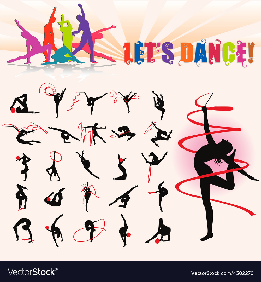 Silhouettes of artistic gymnastics vector