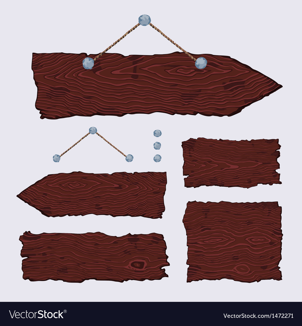 Blank wooden signs  hanging and dark vector