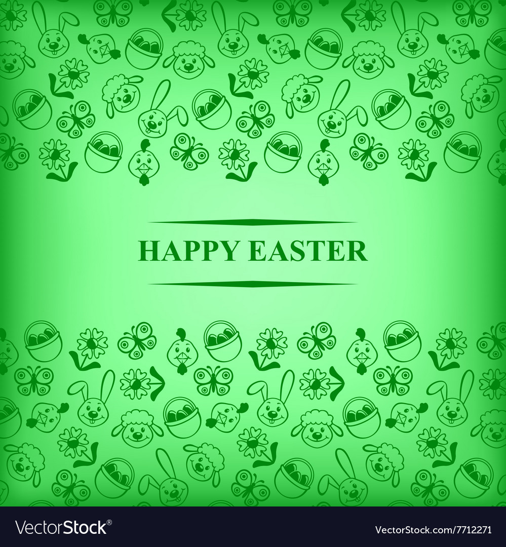 Easter muzzle card green vector