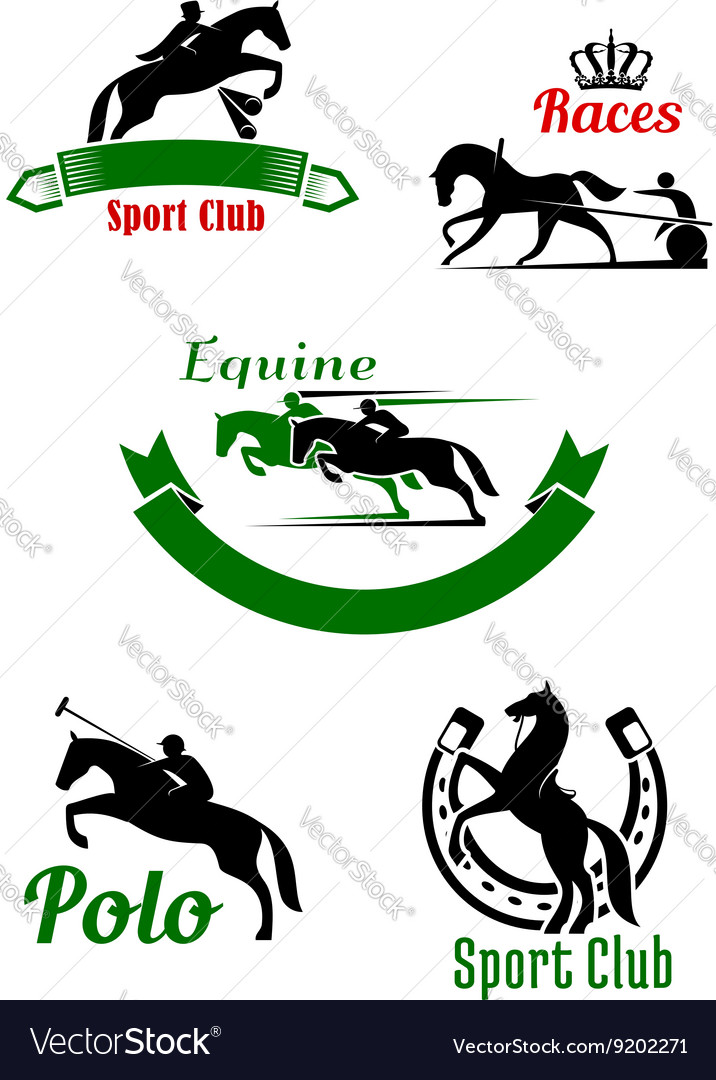 Riding club horse racing and polo game design vector