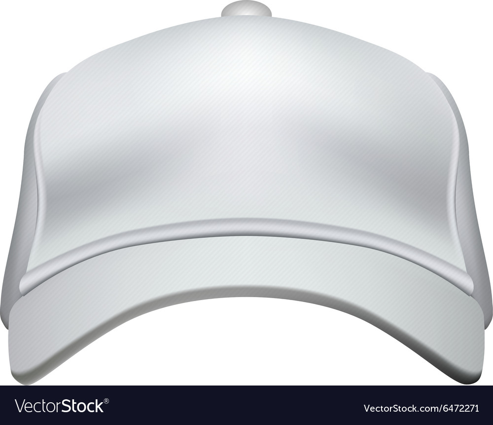 White baseball cap isolated on white background vector