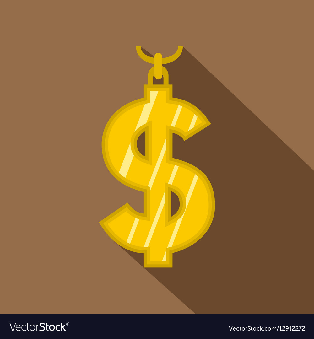 Gold dollar symbol icon flat style vector