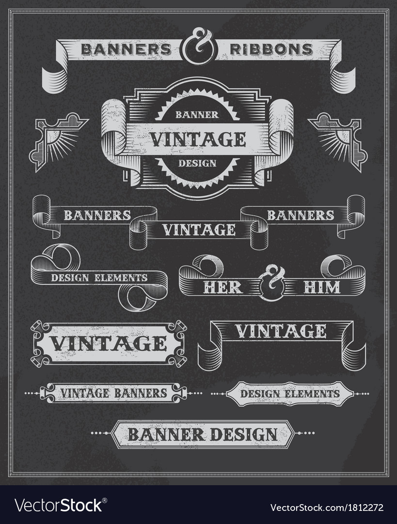 Retro banner and ribbon chalkboard design set vector
