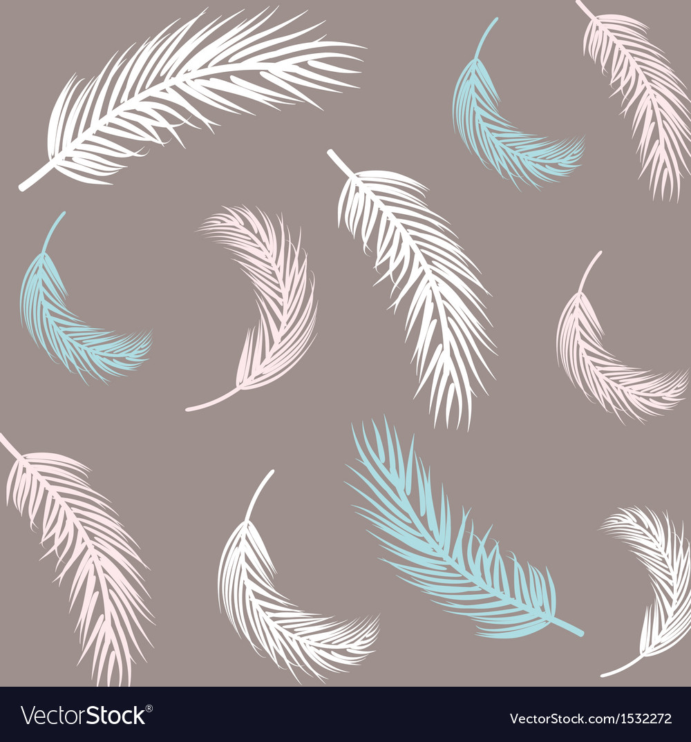 Vintage feather seamless background hand drawn vector