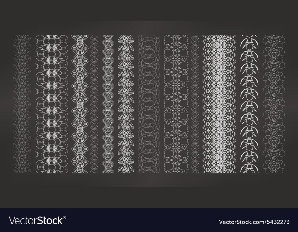 Collection of seamless chains vector