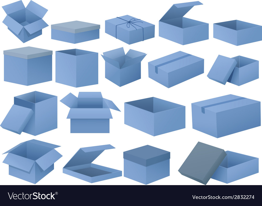 Set of blue boxes vector