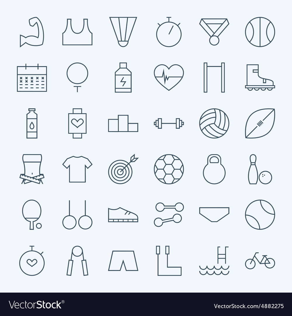 Line sport and fitness icons set vector