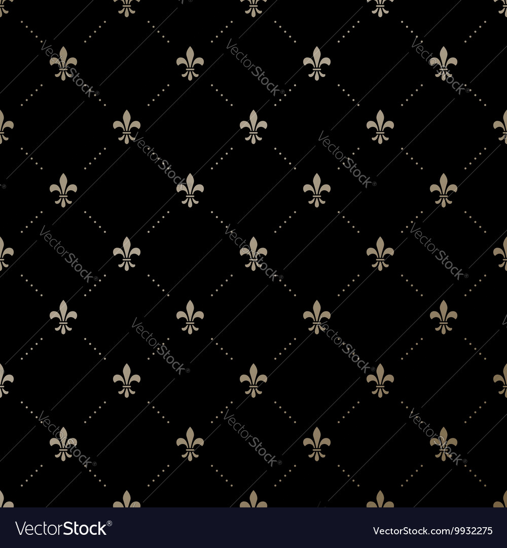 Seamless gold pattern with fleurdelis vector