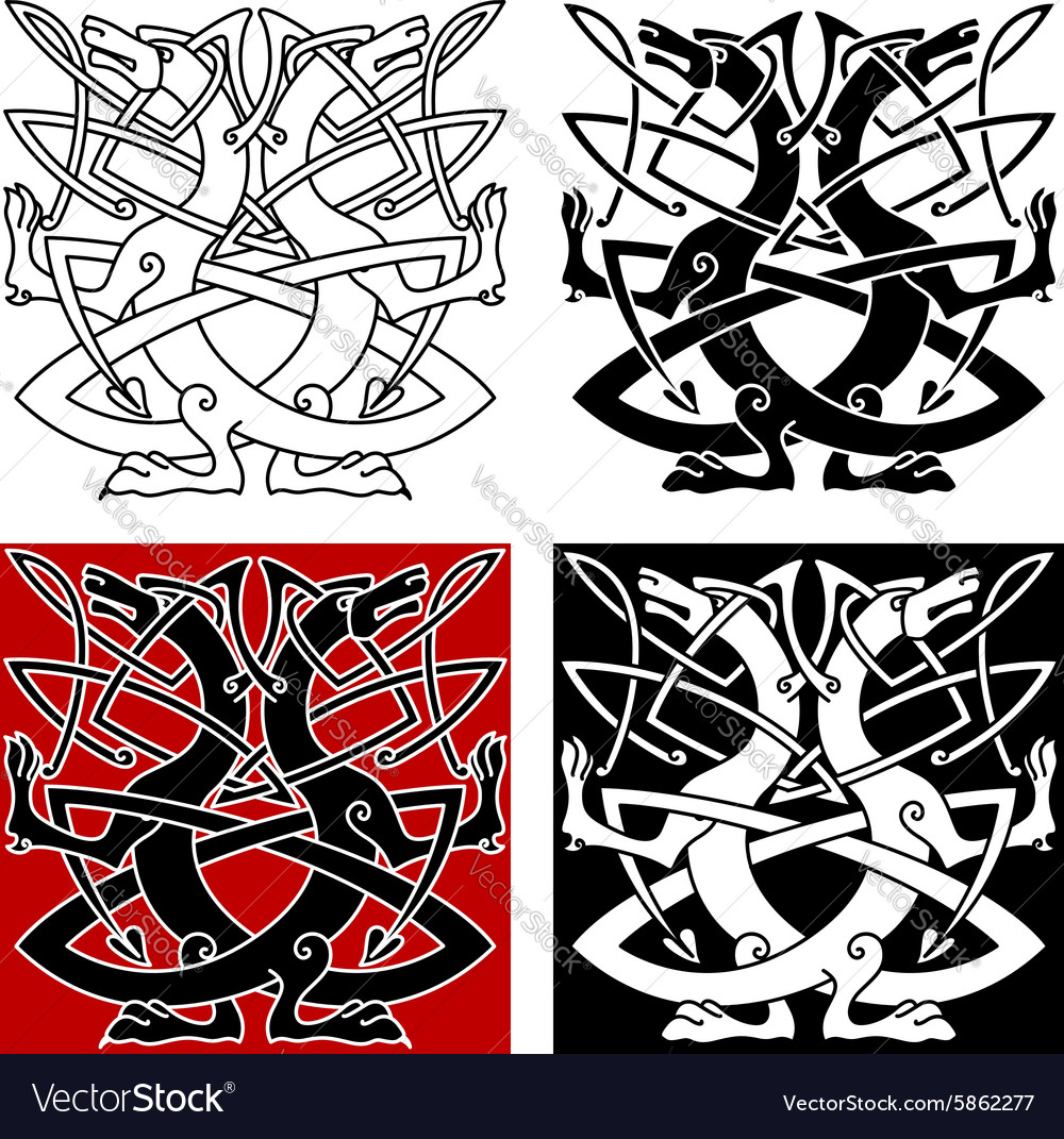 Dog or wolf celtic pattern vector