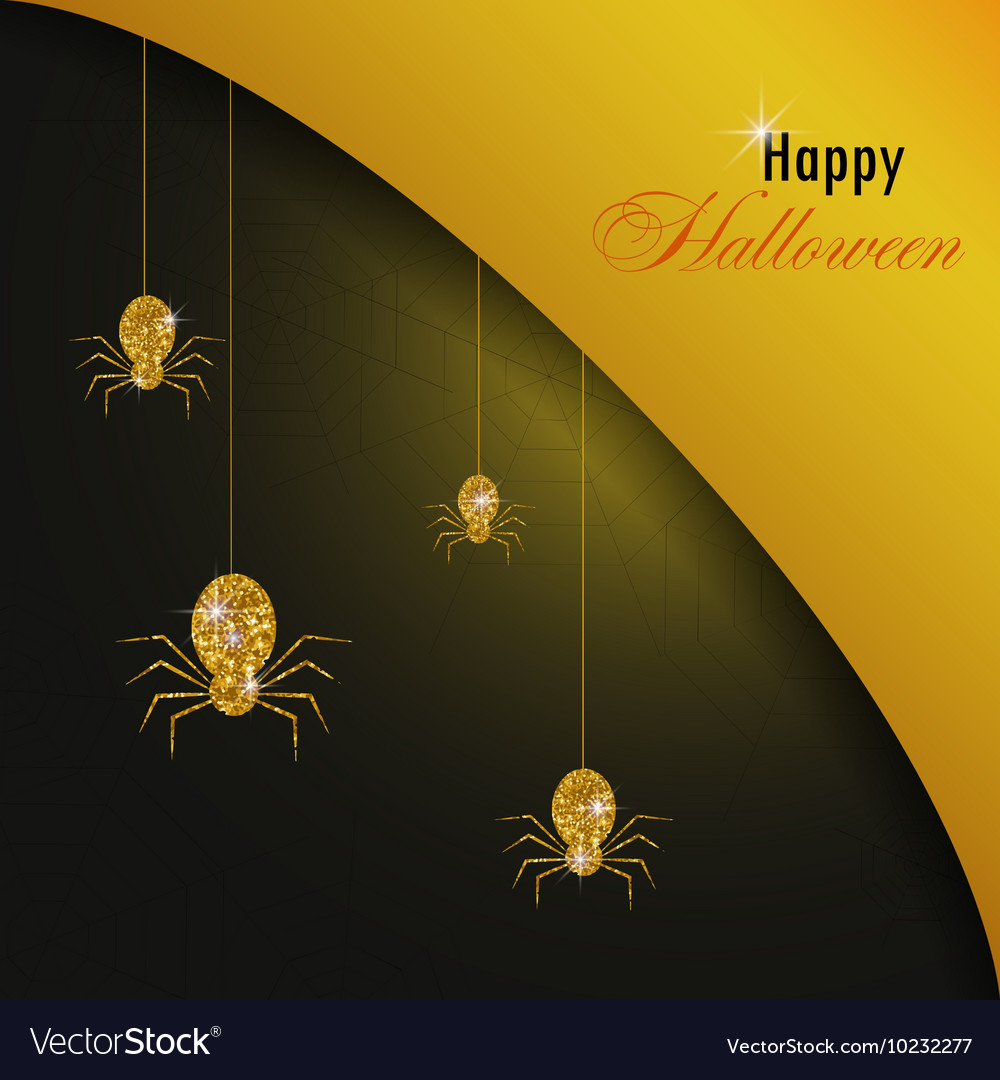 Golden spiders and web halloween background gold vector