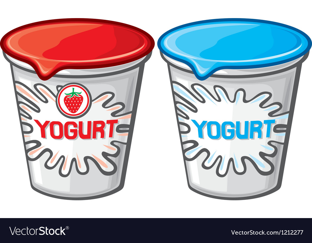 Plastic container for yogurt vector