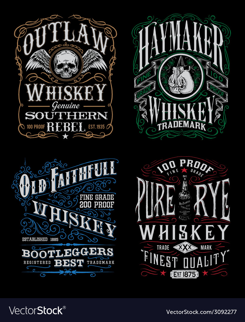 Vintage whiskey label tshirt graphic set vector
