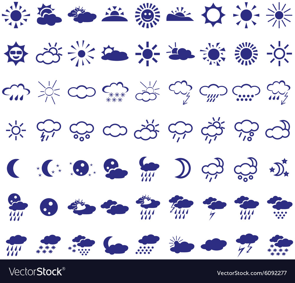 Weather icons on white vector