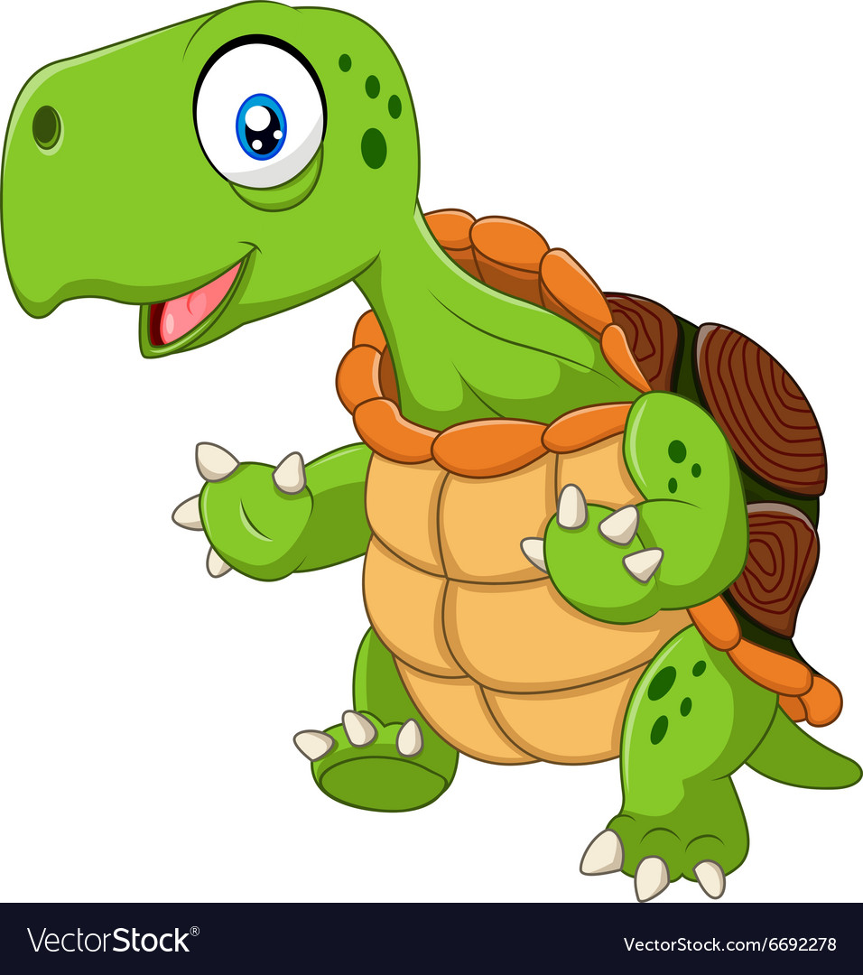 Cartoon funny turtle posing isolated vector